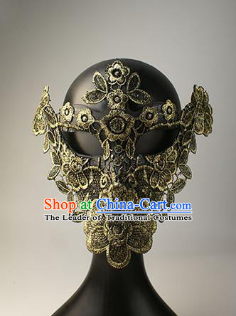 Halloween Exaggerated Golden Lace Face Mask Fancy Ball Props Stage Performance Accessories Christmas Mysterious Masks