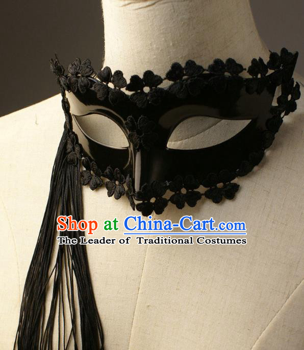 Halloween Exaggerated Tassel Black Face Mask Fancy Ball Props Stage Performance Accessories Christmas Mysterious Masks