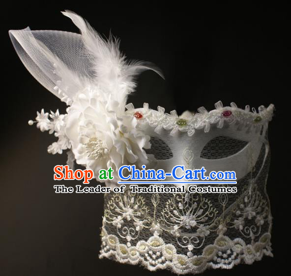 Halloween Exaggerated White Lace Feather Face Mask Fancy Ball Props Stage Performance Accessories Christmas Mysterious Masks
