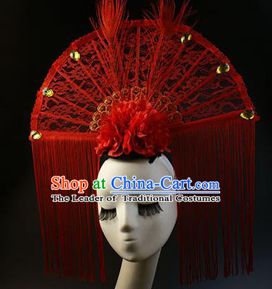 Top Grade Catwalks Queen Red Lace Hair Accessories China Style Stage Performance Modern Fancywork Headwear