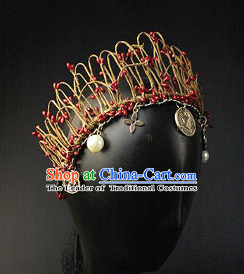 Top Grade Christmas Catwalks Hair Accessories Halloween Stage Performance Royal Crown Modern Fancywork Headwear