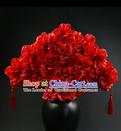 Top Grade China Catwalks Hair Accessories Halloween Modern Fancywork Red Flowers Hair Clasp Headwear