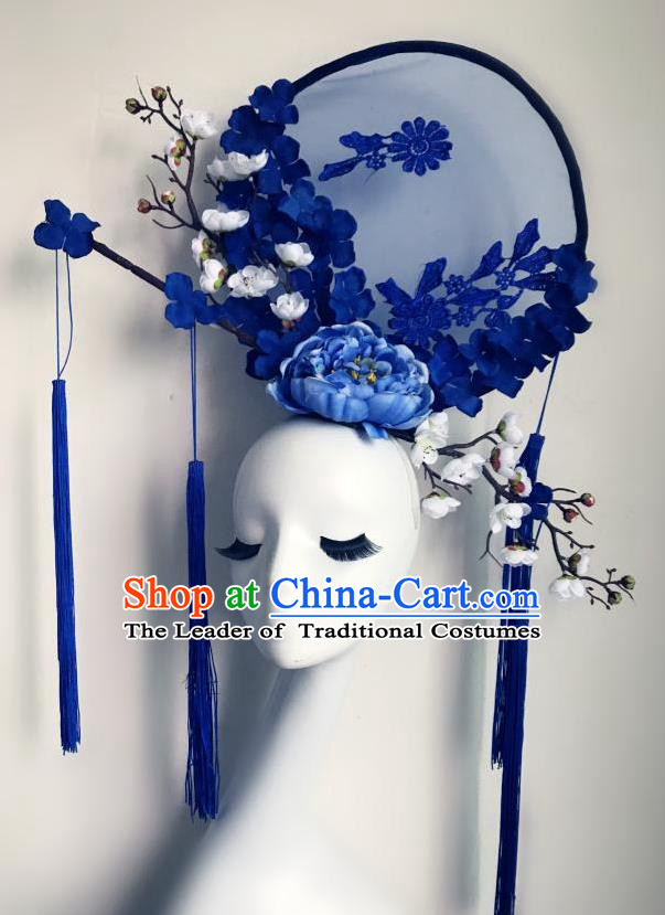 Top Grade Chinese Traditional Catwalks Hair Accessories Exaggerated Palace Blue Peony Flowers Headdress Halloween Modern Fancywork Headwear