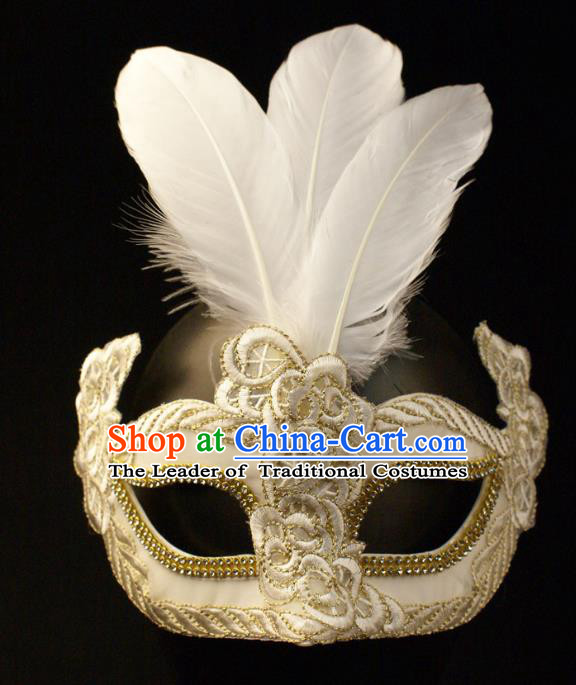 Halloween Exaggerated White Feather Face Mask Venice Fancy Ball Props Catwalks Accessories Christmas Mysterious Masks