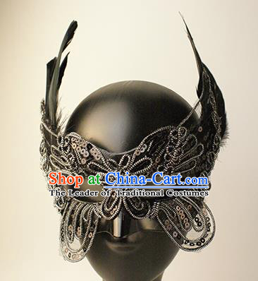 Halloween Exaggerated Black Lace Butterfly Face Mask Venice Fancy Ball Props Catwalks Accessories Christmas Mysterious Masks