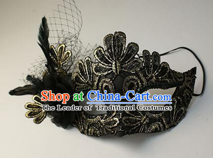 Halloween Exaggerated Golden Lace Feather Face Mask Venice Fancy Ball Props Catwalks Accessories Christmas Mysterious Masks