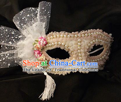 Halloween Exaggerated Pearls Pink Face Mask Venice Fancy Ball Props Catwalks Accessories Christmas Mysterious Masks