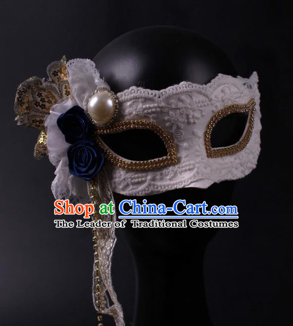Halloween Exaggerated Face Mask Venice Fancy Ball Props Catwalks Accessories Christmas White Lace Masks