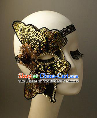 Halloween Exaggerated Golden Butterfly Face Mask Venice Fancy Ball Props Catwalks Accessories Christmas Masks