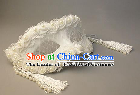 Halloween Exaggerated White Pearls Tassel Face Mask Venice Fancy Ball Props Catwalks Accessories Christmas Masks