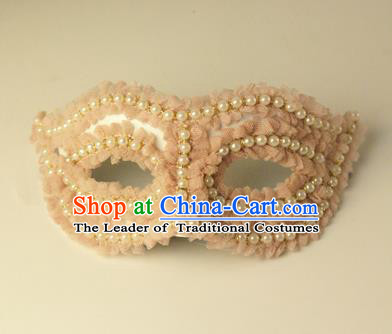 Halloween Exaggerated Pink Flowers Pearls Face Mask Venice Fancy Ball Props Catwalks Accessories Christmas Masks