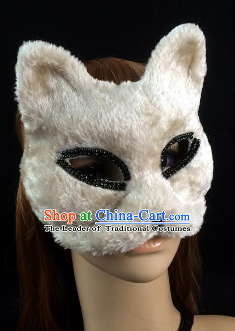 Halloween Exaggerated White Cats Face Mask Venice Fancy Ball Props Catwalks Accessories Christmas Masks