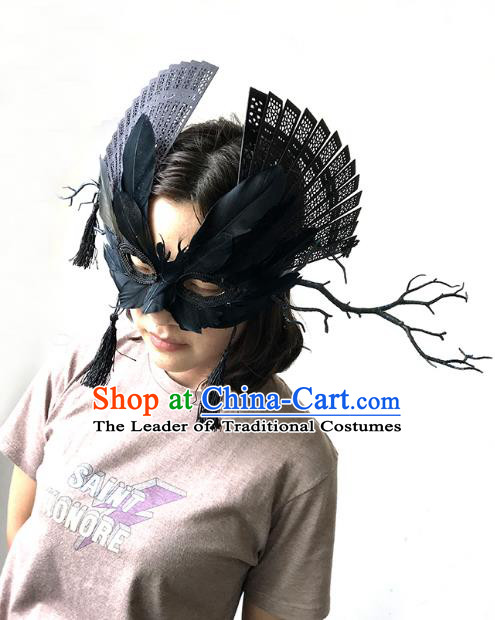 Halloween Venice Exaggerated Black Feather Face Mask Fancy Ball Props Catwalks Accessories Christmas Masks