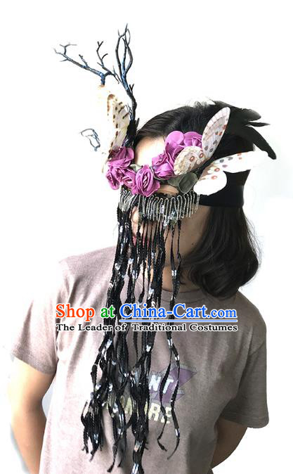 Halloween Venice Exaggerated Butterfly Tassel Face Mask Fancy Ball Props Catwalks Accessories Christmas Masks