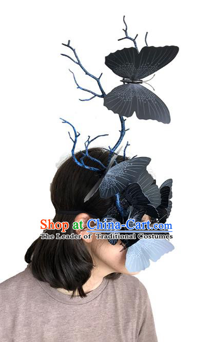 Halloween Venice Exaggerated Black Butterfly Face Mask Fancy Ball Props Catwalks Accessories Christmas Masks