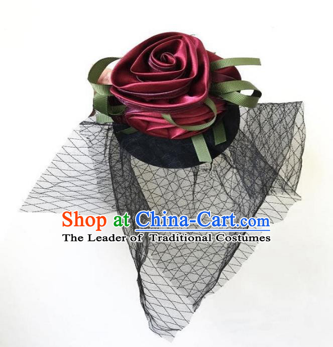 Top Grade Catwalks Hair Accessories Exaggerated Wine Red Rose Top Hat Halloween Modern Fancywork Wedding Headwear