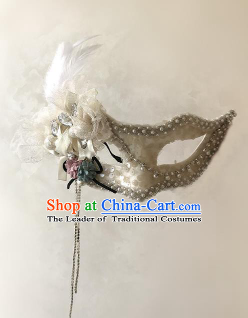 Halloween Venice Exaggerated White Pearls Feather Face Mask Fancy Ball Props Catwalks Accessories Christmas Masks