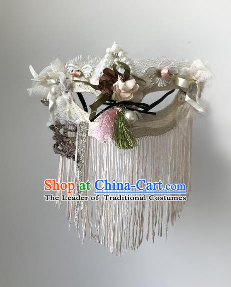 Halloween Venice Exaggerated White Tassel Face Mask Fancy Ball Props Catwalks Accessories Christmas Masks