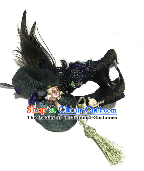 Halloween Venice Exaggerated Black Lotus Feather Face Mask Fancy Ball Props Catwalks Accessories Christmas Masks