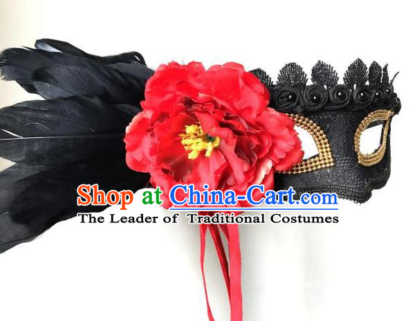 Halloween Catwalks Venice Red Flower Face Mask Fancy Ball Props Accessories Christmas Exaggerated Masks