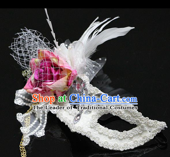 Halloween Catwalks Venice White Feather Face Mask Fancy Ball Props Accessories Christmas Exaggerated Masks