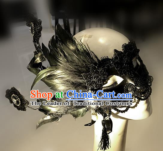 Halloween Catwalks Venice Face Mask Fancy Ball Props Accessories Christmas Exaggerated Black Feather Masks