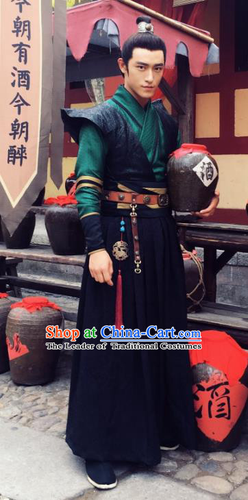 Chinese Ancient Southern and Northern Dynasties Imperial Bodyguard Swordsman Historical Costume for Men