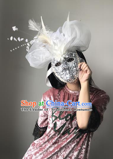 Halloween Catwalks Venice Bride Face Mask Fancy Ball Crystal Feather Masks Christmas Exaggerated Feather Masks