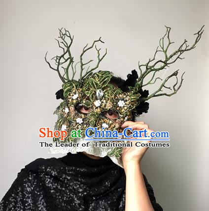 Halloween Handmade Face Mask Fancy Ball Catwalks Masks Christmas Exaggerated Feather Masks
