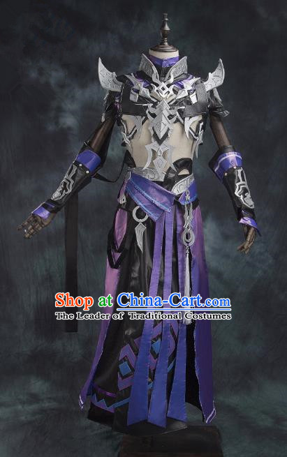 China Ancient Cosplay Swordsman Purple Costumes Chinese Traditional Knight-errant Clothing for Men