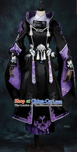 China Ancient Cosplay Young Lady Black Dress Knight-errant Costumes Chinese Traditional Swordsman Clothing for Women