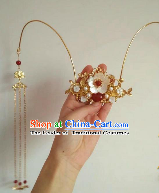 China Ancient Wedding Hair Accessories Chinese Traditional Xiuhe Suit Golden Phoenix Coronet Hairpins for Women