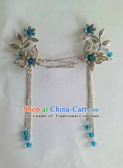 China Ancient Hair Accessories Hanfu Blue Beads Tassel Butterfly Step Shake Chinese Classical Hairpins for Women