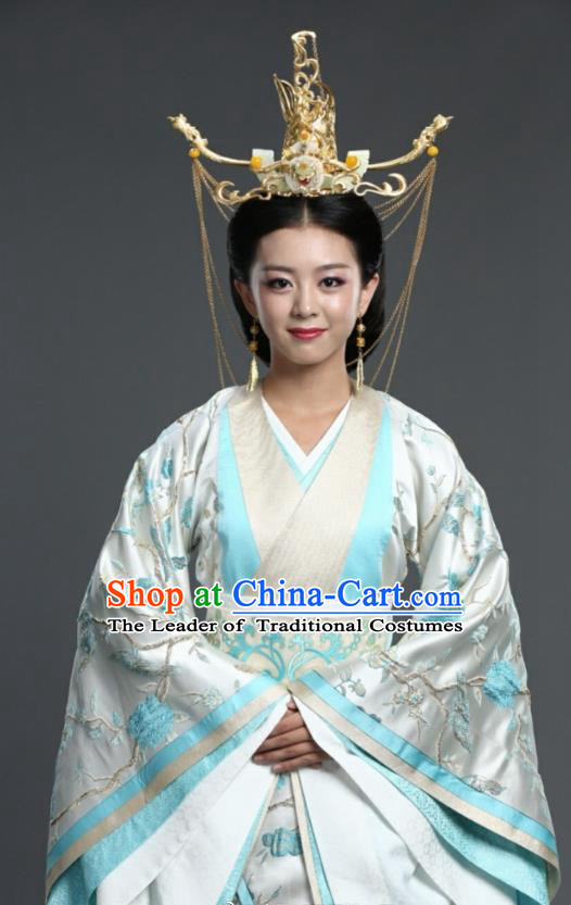 Chinese Ancient Palace Queen Hanfu Dress Northern Zhou Dynasty Empress Embroidered Historical Costume and Headpiece Complete Set