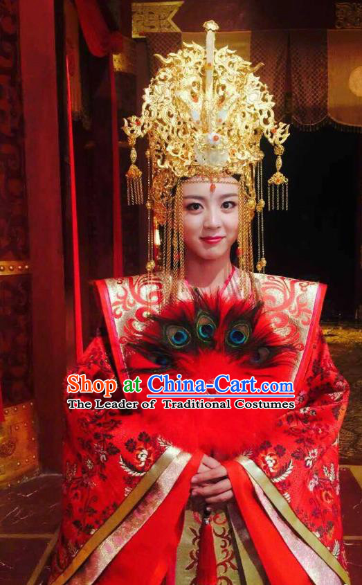 Chinese Ancient Queen Wedding Hanfu Dress Northern Zhou Dynasty Empress Embroidered Historical Costume and Headpiece Complete Set