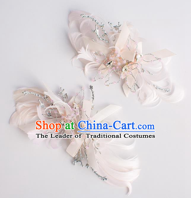 Chinese Ancient Bride Hair Accessories Xiuhe Suit Hairpins Pink Feather Hair Claws for Women