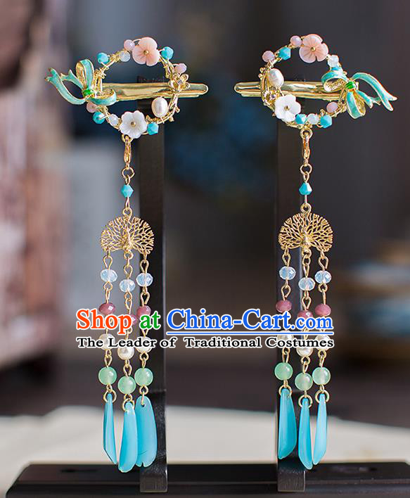 Chinese Traditional Palace Hair Accessories Xiuhe Suit Tassel Hair Claws Ancient Hairpins for Women