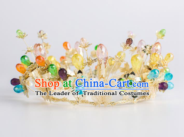 Baroque Bride Hair Accessories Golden Butterfly Royal Crown Wedding Princess Classical Imperial Crown for Women