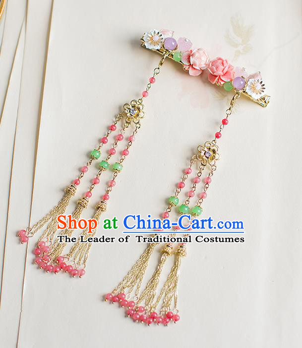 Chinese Traditional Palace Hair Accessories Xiuhe Suit Pink Beads Tassel Hair Claws Ancient Hairpins for Women