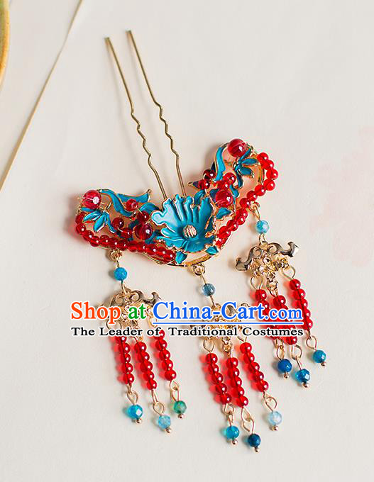 Chinese Traditional Palace Hair Accessories Xiuhe Suit Red Beads Tassel Hair Clips Ancient Hairpins for Women