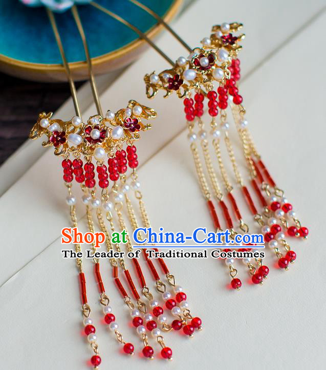 Chinese Traditional Palace Hair Accessories Xiuhe Suit Red Tassel Hair Clips Ancient Hairpins for Women