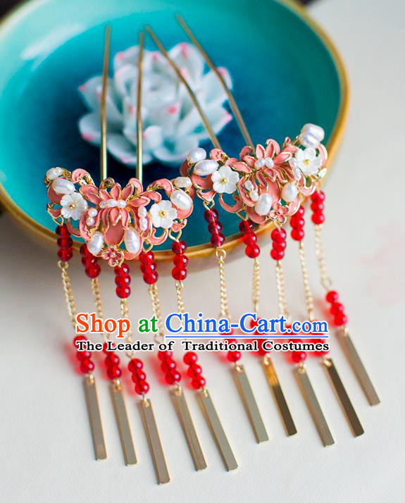 Chinese Traditional Palace Hair Accessories Xiuhe Suit Pink Lotus Hair Clips Ancient Hairpins for Women