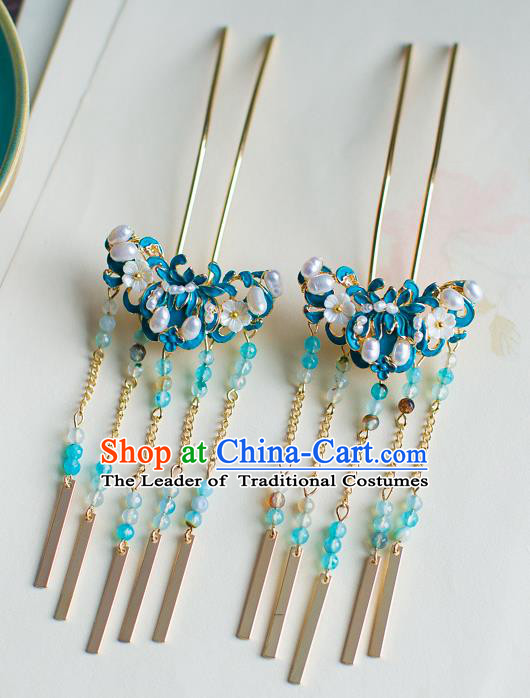 Chinese Traditional Palace Hair Accessories Xiuhe Suit Blue Lotus Hair Clips Ancient Hairpins for Women