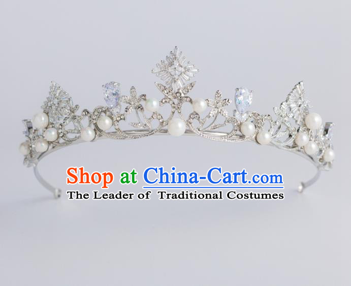 Baroque Bride Hair Accessories Classical Royal Crown Zircon Imperial Crown Headwear for Women