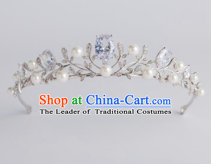 Baroque Bride Hair Accessories Classical Royal Crown Princess Zircon Pearls Imperial Crown Headwear for Women