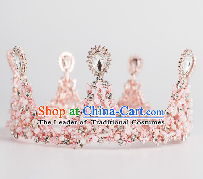 Baroque Bride Hair Accessories Round Royal Crown Wedding Princess Classical Pink Imperial Crown for Women