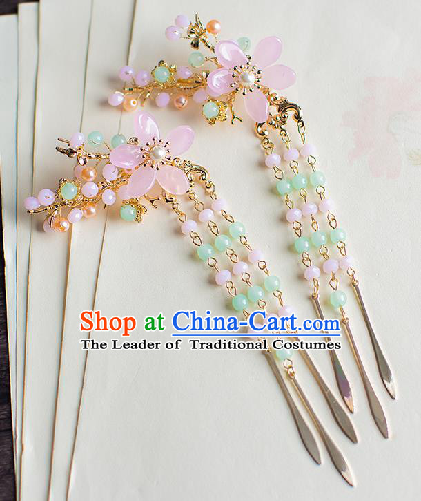 Chinese Traditional Palace Hair Accessories Tassel Hair Sticks Ancient Xiuhe Suit Hairpins for Women