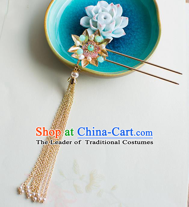 Chinese Traditional Palace Hair Accessories Xiuhe Suit Hair Clip Step Shake Ancient Tassel Hairpins for Women