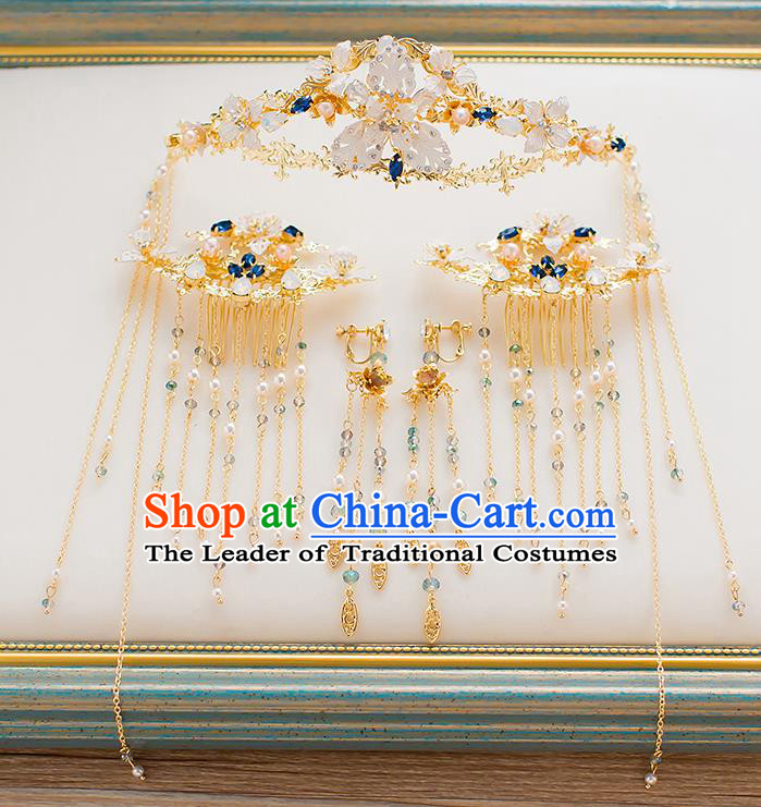 Chinese Traditional Palace Hair Accessories Xiuhe Suit Golden Phoenix Coronet Ancient Tassel Hairpins Complete Set for Women