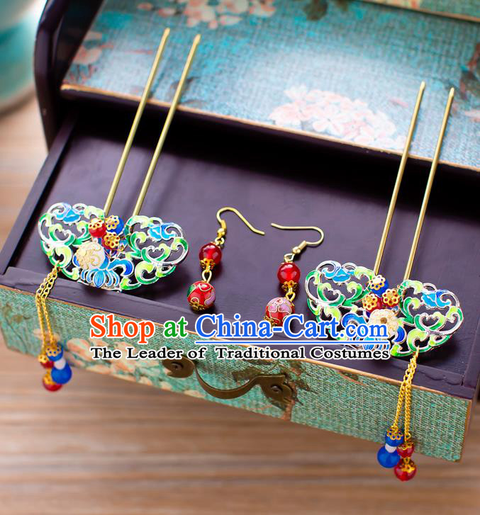 Chinese Traditional Palace Hair Accessories Xiuhe Suit Hairpins Ancient Tassel Hair Clips for Women